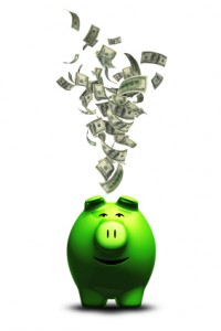 photo of Green Piggy Bank and Money
